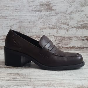 Vintage Brown Leather Chunky Heel Penny Loafer